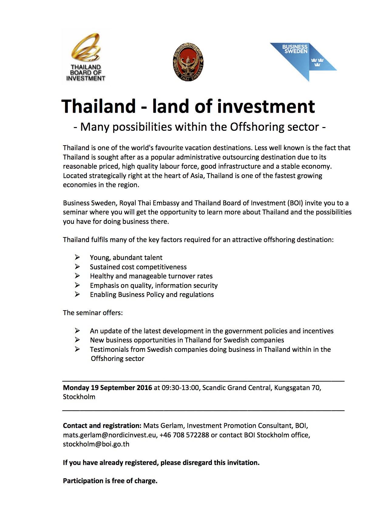 Invitation to Thailand – land of investment Seminar: Sep
